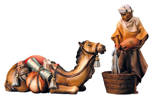 Nativity figurines 'Lying Camel with Keeper', hand-painted