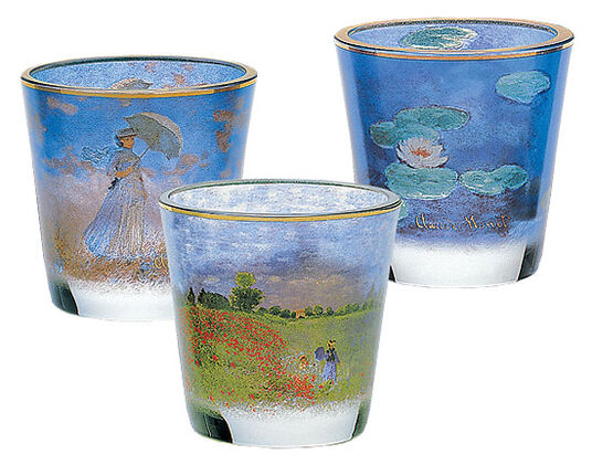 "Claude Monet: ""3-piece tea light set"", glass"