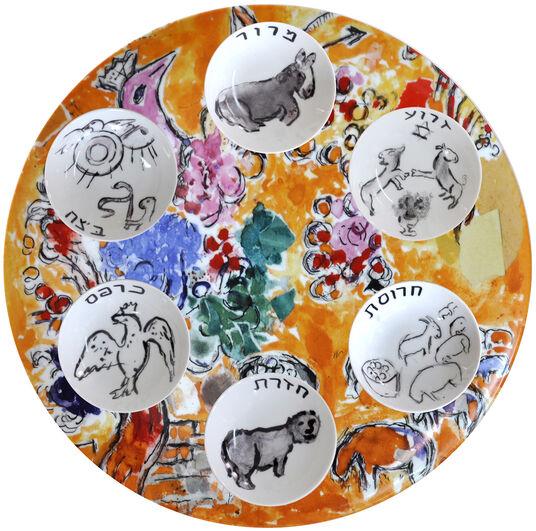 """Marc Chagall: Kollektion Les Vitraux d'Hadassah von Bernardaud - Seder Set mit 6 Salatschälchen """"Josef"""""""