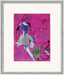 "Picture ""Dancer in front mallow coloured background"", framed."