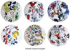 Les Vitraux d'Hadassah von Bernardaud - 6-teiliges Tellerset mit Künstlermotiven, Porzellan