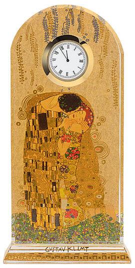 """Gustav Klimt: Tischuhr """"Der Kuss"""" mit Golddekor"""