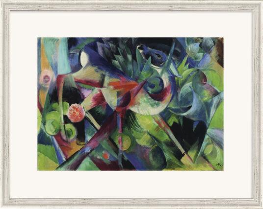 """Franz Marc: Bild """"Reh im Blumengarten"""" (1913), gerahmt"""