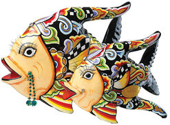"Large Fish ""Oscar"", Hand Painted"
