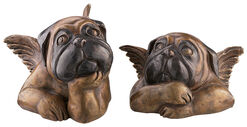 Sculpture set 'Sistine Pugs', version in bronze