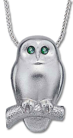 "Christiane Wendt: Necklace ""Emerald Owl"", 925 Sterling silver"