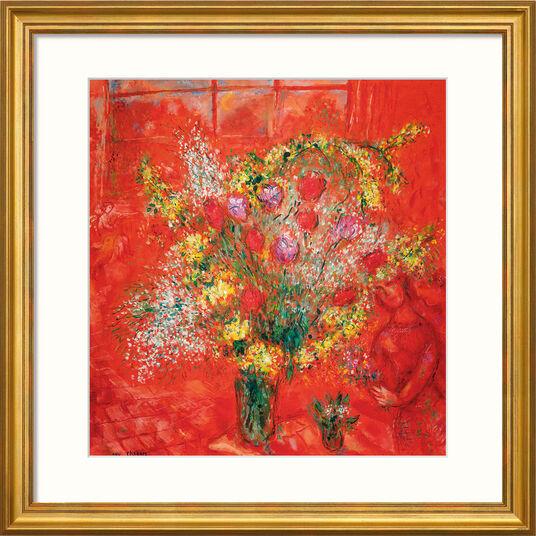 """Marc Chagall: Bild """"Fleurs sur fond rouge"""" (1970), gerahmt"""
