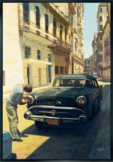"Maykel Herrera: Bild ""A Man and his Car"", gerahmt"