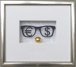 "3D-Bild ""Money makes the world go around"", gerahmt"