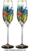 "(814) Sparkling wine glass ""Pavilions and Bungalows for Natives and Foreigners"", 2 part set"