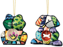 "Deco Pendants ""Frog"" and ""Hound"" in Set, Ceramics"