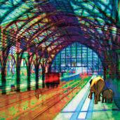 """Bild """"Bahnsteig mit Elefanten"""""""
