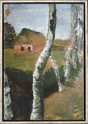 Painting 'Path Along Birch Trees', 1900, framed