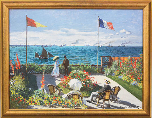 "Claude Monet: Painting ""Garden in Sainte-Adresse"" (1867), Framed"