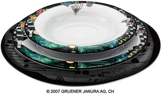 """Friedensreich Hundertwasser: Tableware """"Onionraindome"""", 3 Parts"""
