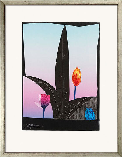 """Paul Wunderlich: Bild """"3 Tulpen"""" (2005), gerahmt"""