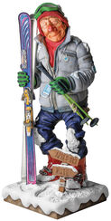 "Caricature ""The Skier"", Artificial Casting, Hand-painted"