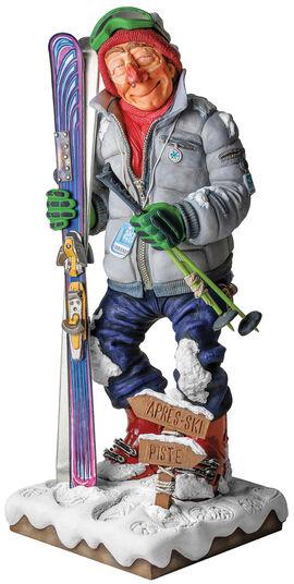 """Guillermo Forchino: Karikatur """"Der Skifahrer"""", Kunstguss handbemalt"""