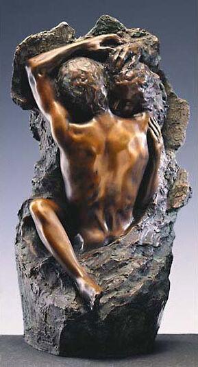"Peter Hohberger: Sculpture ""Loving couple"" (1982), art bronze version"