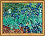 "Painting ""Irises"" (1889) in studio framing"