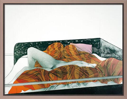 """Bruno Bruni: Bild """"Il letto rigato"""" (1991), gerahmt"""