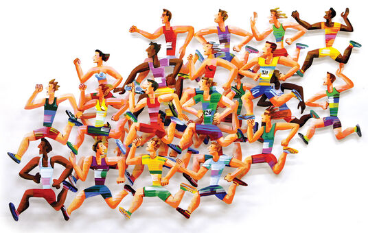"David Gerstein: 3D-Wandskulptur ""Long Distance Runners"" (2004), Aluminium"
