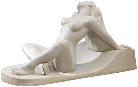 "Peter Hohberger: Sculpture ""Reclining Nude"" version in imitation marble"