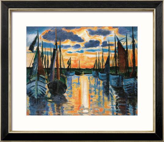 """Max Pechstein: Bild """"Sonnenuntergang Leba Hafen"""" (1926), gerahmt"""