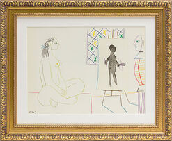 """The Painter and the Model"" (1954) in baroque frame."