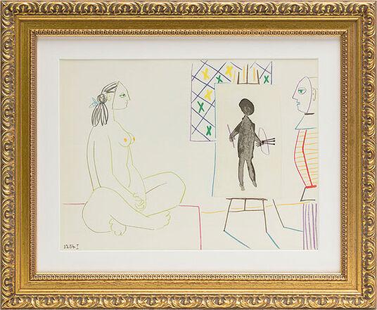 """Pablo Picasso: Bild """"Maler und Modell"""" (1954), gerahmt"""