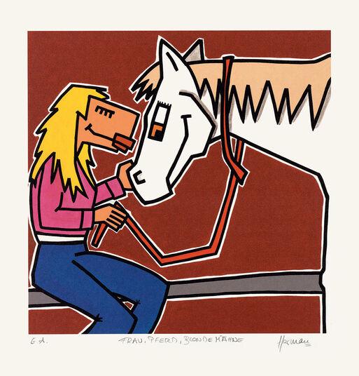 """Herman: Bild """"Frau, Pferd, blonde Mähne"""" (2010), ungerahmt"""