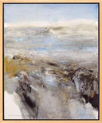 "Bild ""Landschaft im Morgengrauen II"" (2012) (Original / Unikat), gerahmt"