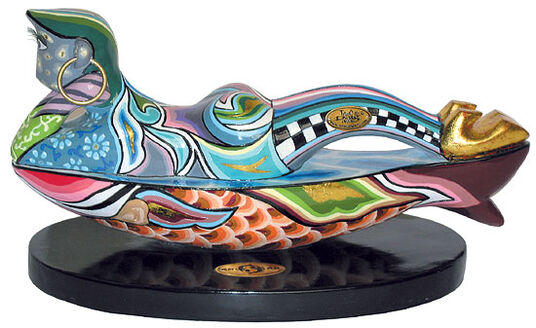 Thomas Hoffmann / Tom's Drag: Zodiac sign sculpture 'Fisch/Pisces', hand-painted artificial marble