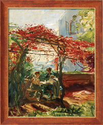 "Picture ""Wine Arbor in Neukastel"" (1917) in a frame"
