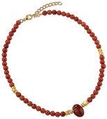 Skarabäus-Collier aus Jaspis und Zuchtkorallen-Perlen