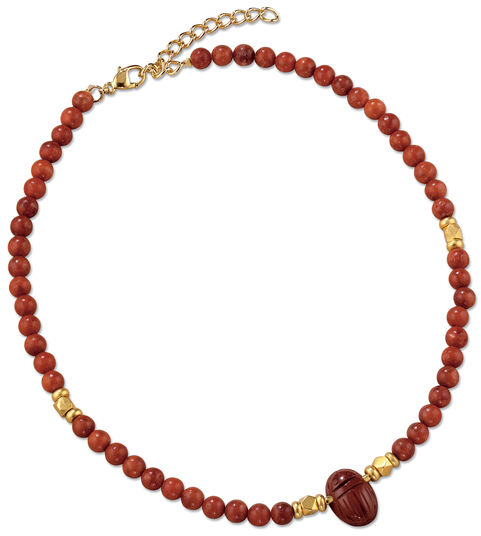 Petra Waszak: Scarab necklace of jasper and cultured coral beads