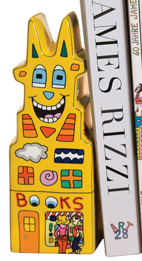 "James Rizzi: Bookend ""Books to My Left"", made of porcelain"