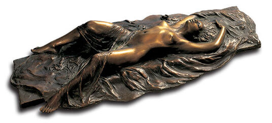 "Meta Morfosi: Sculpture ""Lying Nude with Scarf II"", bronze"