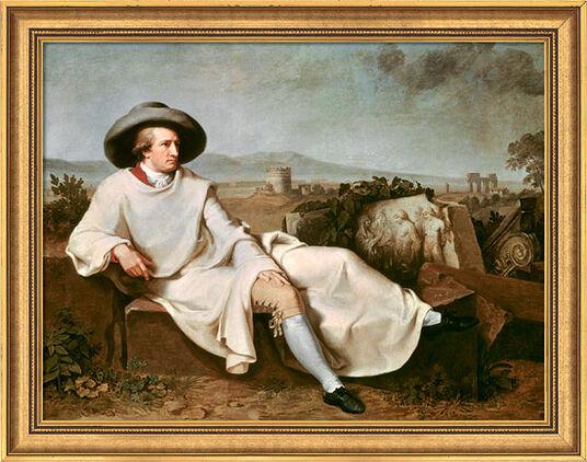 """Johann Heinrich Wilhelm Tischbein: Bild """"Goethe in der Campagna"""" (1786/87), gerahmt"""