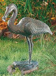 """Gartenskulptur """"Graureiher mit Fisch"""", Bronze"""