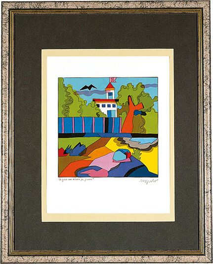 "Ugo Nespolo: Picture ""A House for Fun and Game"", framed"