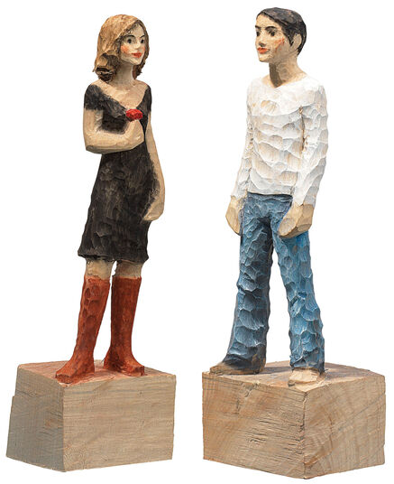 """Michael Pickl: Sculpture pair """"Woman"""" + """"Man"""" in a set, polymer cast, hand-painted."""
