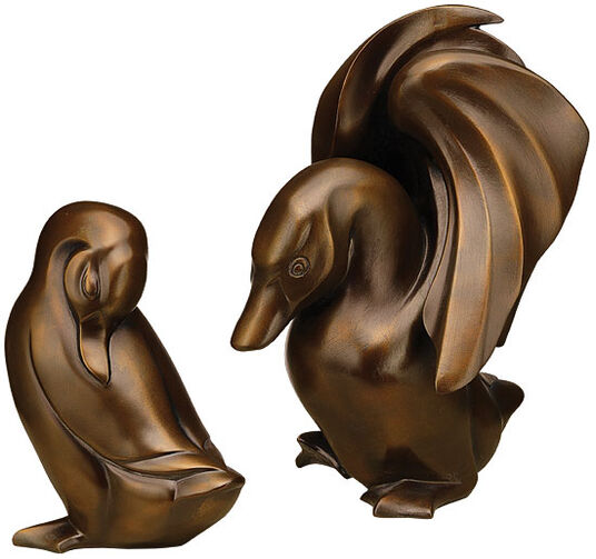 "Jagna Weber: Sculpture couple of ""Duck and drake"" art bronze edition"