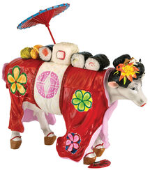 "Cow object ""Geisha"", art castings, hand painted."