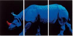 """Bild """"Blaues Nashorn (2007)"""", kleine Version, ungerahmt"""
