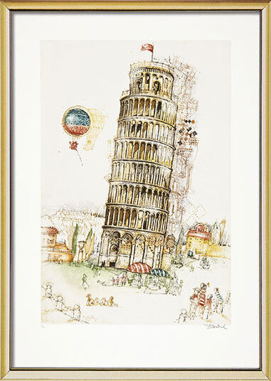"Simon Dittrich: Bild ""Pisa"" (1997), gerahmt"