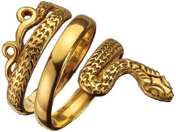 "Snake Jewellery ""Apophis-Ring"", 925 Sterling Silver Gilded"