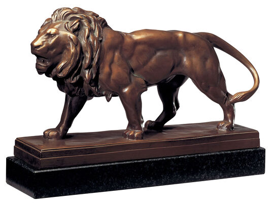 "Sculpture ""Attacking Lion"" Bronze Fine Art"