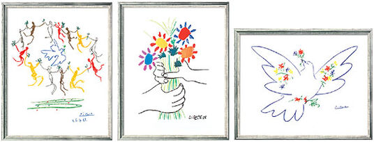 """Pablo Picasso: 3 Paintings """"Peace symbols"""" in a set"""