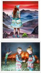 """2 Bilder """"In den Blauen Bergen"""" + """"Feuer"""" im Set, Exklusiv-Editionen für ARTES"""
